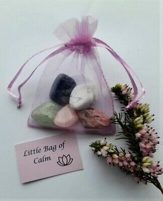 Calming Gemstone Crystal Healing Set For Anxiety & Stress - A Little Bag Of Calm • 5.25£