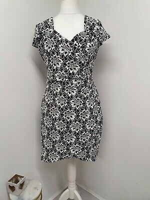 Joe Browns Black And White Wrap Style Dress Flattering Side Gather Lace Size 18 • 12.95£
