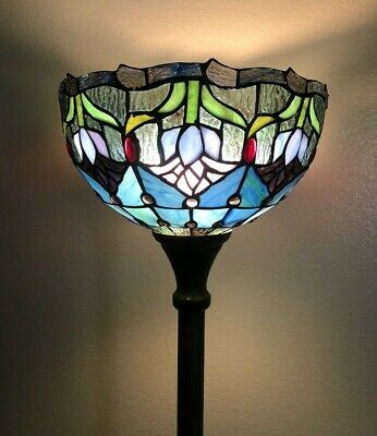 Enjoy Brand Floor Lamp Tulip Flower Stained Glass Antique Vintage W12H66INCH • 119.38£