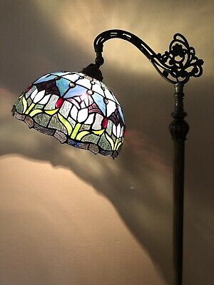 """£137.97 • Buy Enjoy Tiffany Style Floor Lamp Tulip Flowers Stained Glass Vintage 62.5""""H"""