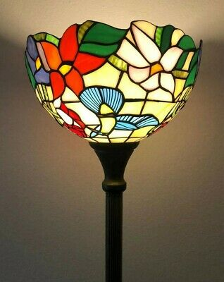 "Enjoy Brand Floor Lamp Hummingbird Flower Stained Glass Antique Vintage W12H*66"" • 117.94£"