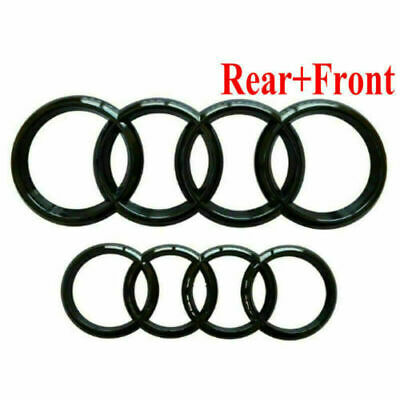 £13.92 • Buy Set Front & Rear Grille Badge Rings Logo Emblem Black Gloss For Audi A3 A5 A4 A6