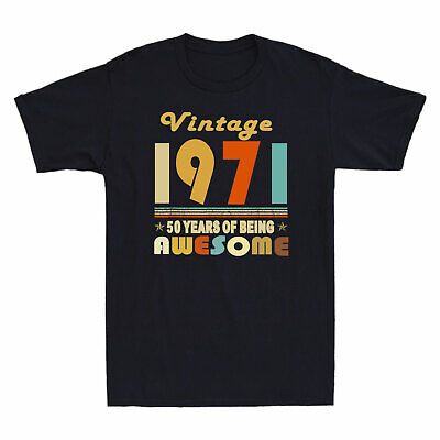 $ CDN19.11 • Buy Vintage 1971 50 Years Of Being Awesome Men's T-Shirt 50th Birthday Gifts Tee New