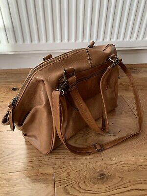 Acessorize Womens Brown/ Tan Leather Looking Shoulder Bag Inc Pockets/ Strap • 12.99£