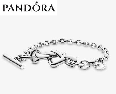 Genuine Silver Pandora Knotted Heart T-Bar Bracelet Gift Box & Polishing Cloth • 34.99£