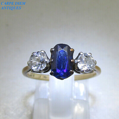 ART DECO 1.25CT OLD CUT DIAMOND & SAPPHIRE 18K GOLD & PLATINUM RING UK N C1925 • 695£