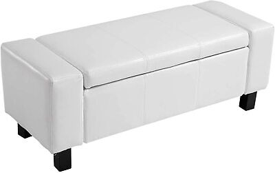 Ottoman Storage Chest Bench White Faux Leather Seat Box Bedroom Furniture Stool • 89.96£