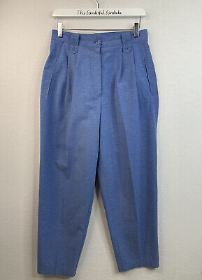REVUE Canada • Vintage Blue Ovoid High Waist Trousers • Size 10 12 • 22£