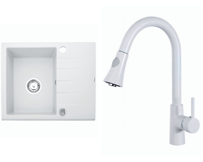 £138.99 • Buy Kitchen Granite Sink With Tilia Faucet And Waste Set | White | 59 X 48.5cm