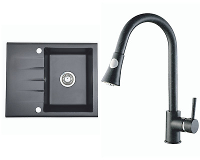 £138.99 • Buy Kitchen Granite Sink With Tilia Faucet And Waste Set | Black | 59 X 48.5cm