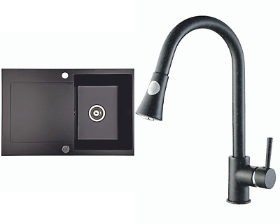 £148.99 • Buy Kitchen Granite Sink With Tilia Faucet And Waste Set | Black | 78x50 Cm