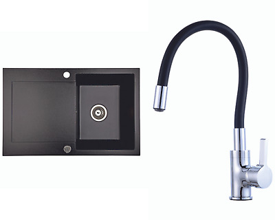 £136.99 • Buy Kitchen Granite Sink With Lentis Faucet And Waste Set | Black | 78x50 Cm