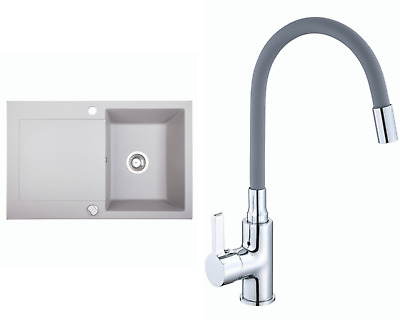 £136.99 • Buy Kitchen Granite Sink With Lentis Faucet And Waste Set | Grey | 78x50 Cm