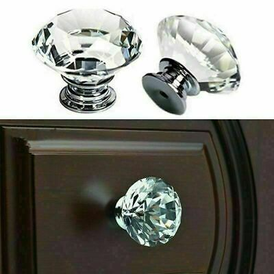Diamond Crystal Clear Glass Door Knobs Cupboard Drawer Furniture Handle Cabinet • 2.95£