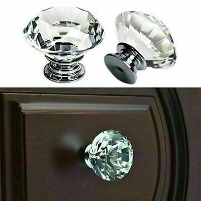 Diamond Crystal Clear Glass Door Knobs Cupboard Drawer Furniture Handle Cabinet • 3.95£