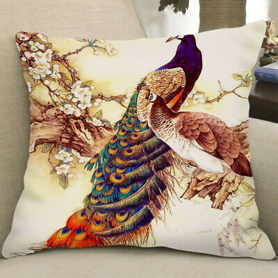 Square Cushion Cover Pillowslip Decoration Cover Two Peacocks 60x60cm • 8.66£