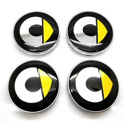 4pc Wheel Hub Centre Cap 60mm Yellow Smart Logo Badge Cover Set For Smart Fortwo • 13.06£