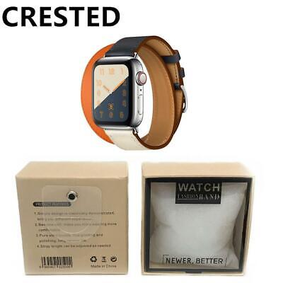 AU41.70 • Buy Double Tour Leather Strap For Apple Watch Band 44mm 40mm Correa 42mm 38mm Wrist