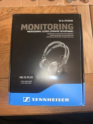 Sennheiser HD25 Plus DJ Headphones + Coiled & Straight Cable, Bag & Spare Pads • 160£