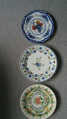 3 X Large Vintage Handpainted Spanish Pottery Plates 30cms • 27£