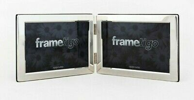 Silver Plated Photo Frame Picture Modern Flat Double Sided Hinged Plain All Size • 12.99£
