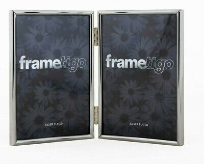 £12.49 • Buy Silver Plated Photo Frame Picture Modern Thin Double Sided Hinged All Sizes Gift