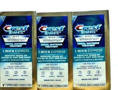 AU16.29 • Buy Crest 1 Hour Express 3D Teeth Whitening Strips Kit - 3 Pouches/6 Strips