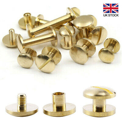 £5.05 • Buy 10x Solid Brass Screw Leather Craft Chicago Nail Brass Solid Rivet Stud HeadTool