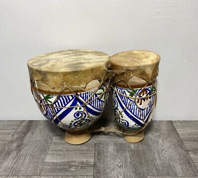 £88.73 • Buy Vintage Moroccan Bongo Drums-Hand Painted Terracotta-Tight Skins