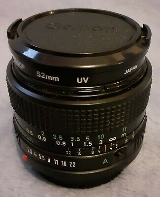 Canon FD 28mm 1:2.8 Lens With UV Filter, Front & Rear Caps Plus Canon Lens Case • 123£