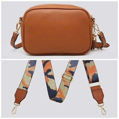 £30 • Buy Ladies Tan Faux Leather Tassel Cross Bag With A Detachable Strap