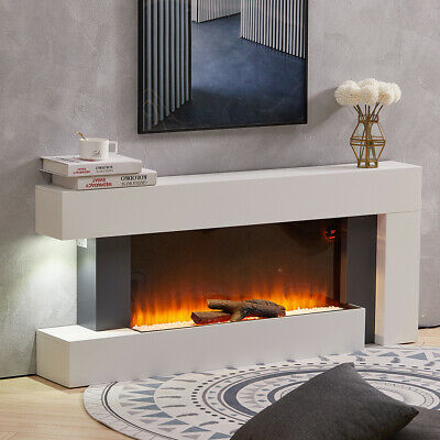 Luxury 50 Inch Electric Fireplace Suite LED Log Fire Burning Flame With Surround • 419.95£