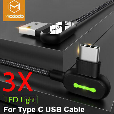 AU5.50 • Buy 3X 3M Elbow LED  Braided Type-C USB Fast Charger Cable Cord Samsung S9 Note 10