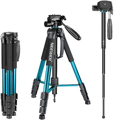 AU49.99 • Buy Neewer Portable Camera Tripod Monopod Stand 70  With 3-Way Swivel Pan Head Blue