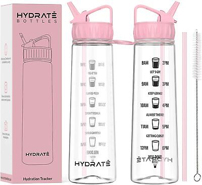 Tracker 900ml Straw Water Bottle - With Motivational Time Markings, BPA-Free  • 11.99£