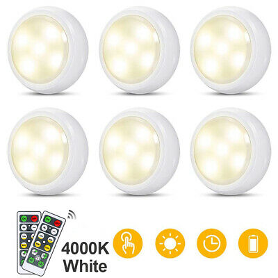 LED Closet Night Lights Under Cabinet Lamp Battery Remote Control 4000K White • 5.49£