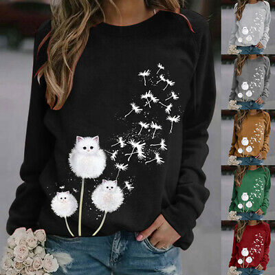 Womens Loose Dandelion Cat Tops Blouse Pullover T-Shirt Casual Sweatshirt Jumper • 8.99£