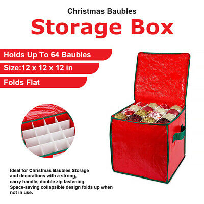 64 Baubles - Xmas Decorations Storage Bag Christmas Tree Ornaments Organiser Box • 7.99£