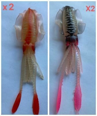 AU11.90 • Buy 4 X 3D Soft Plastic Squid Lures 2 Colors 10cm Attractive  Fishing Lure Tackle