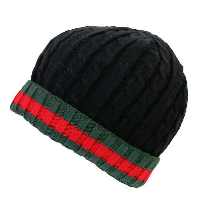 £3.99 • Buy Mens Cable Knit Warm Black With Green/Red Stripe Turn Over Cuff Thermal Hat