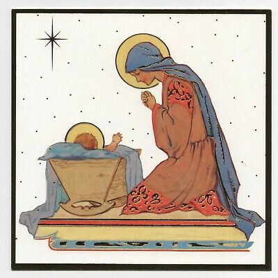 Margaret Tarrant Virgin Mary Kneeling Medici Christmas Greeting Card Gold Border • 1.99£