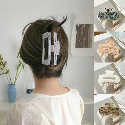 $ CDN4.75 • Buy Large Hair Claws Women Hair Clip Rectangle Marble Print Barrette Ponytail Clamps