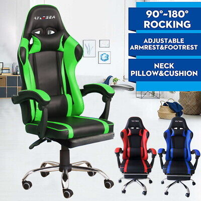 AU125 • Buy Gaming Office Chair PU Leather Recliner Computer Seating Footrest Headrest AU