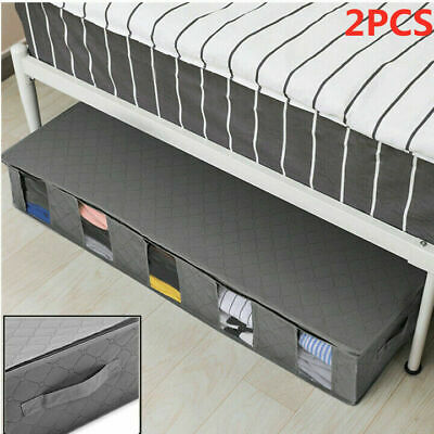 2x Large Capacity Under Bed Storage Bag Box 5 Compartments Clothes Organiser UK • 9.19£