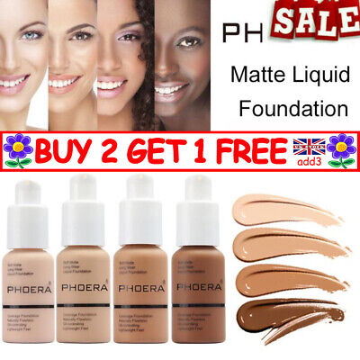 PHOERA@ Foundation Concealer Full Coverage Makeup Matte Brighten Long Lasting YY • 6.75£