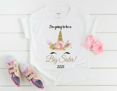 I'm Going To Be A Big Sister Unicorn T-Shirt Personalised New Baby T-shirt • 10.99£