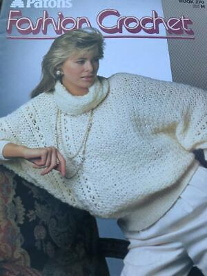 Patons Fashion Crochet Book 270 Ladies Sweaters, Waistcoat, Jacket, Slipover • 2.50£