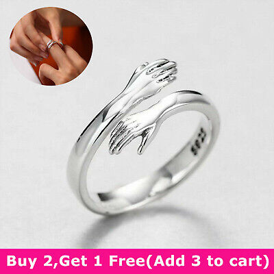 925 Silver Love Hug Ring Band Open Finger Adjustable Jewelry Womens Girls Gifts • 4.27£