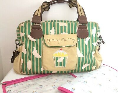 Pink Lining Yummy Mummy Baby Changing Bag -Green Stripe Butterflies *Immaculate! • 23.99£