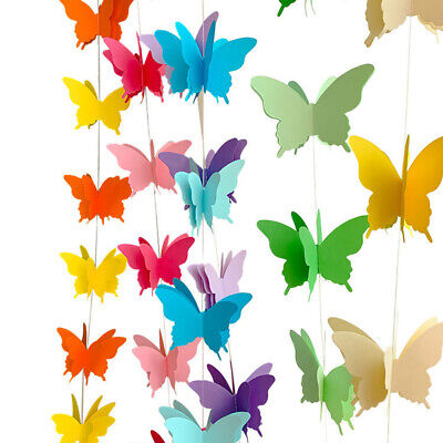 Butterfly Hanging Garland 3D Paper Bunting Banner Wedding Party Decor UK Stock • 3.35£
